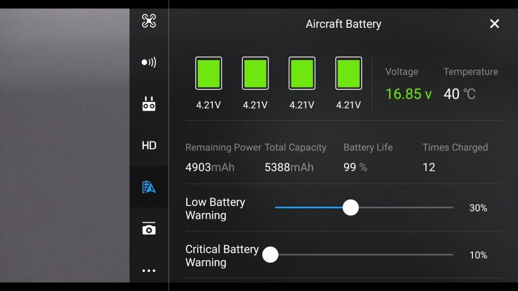 status baterie na drony