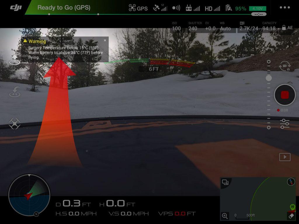 varovanie nizka teplota baterie dron